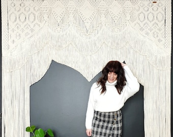 Ronja - extra large macrame wallhanging / tapestry / wedding arch made from extra soft cotton cord in its natural / white color