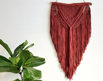 Terry - large macramé wall hanging / macramé tapestry made from organic and recycled soft ribbon in a rusty terra-cotta color