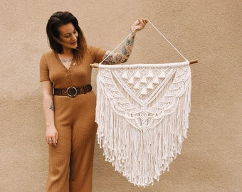 Darla - large macrame wallhanging / tapestry made from all natural materials on driftwood