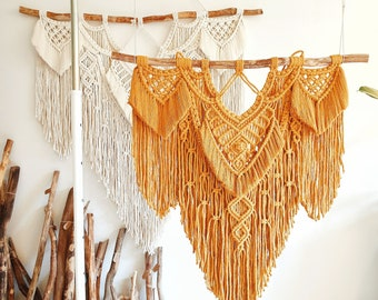 Mira - macrame wallhanging / tapestry size M in a warm mustard color