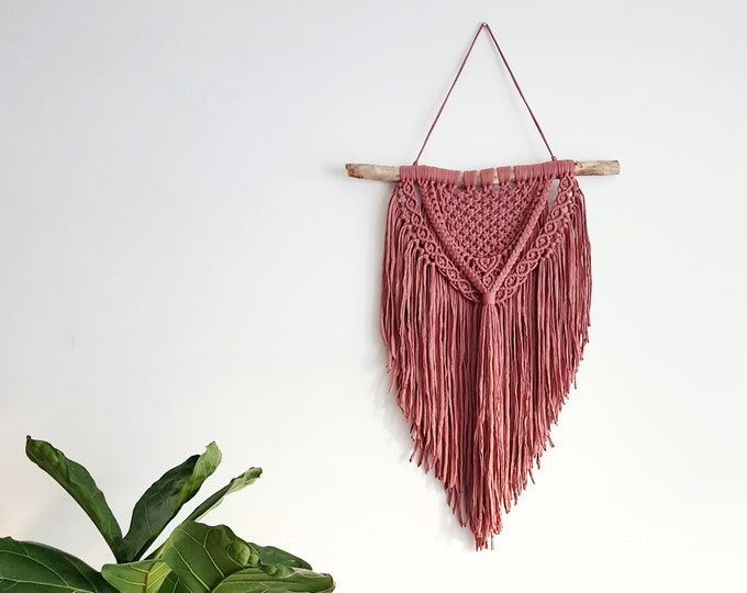 Raina - large macramé wall hanging / macramé tapestry made from organic and recycled soft ribbon in a rusty terra-cotta color
