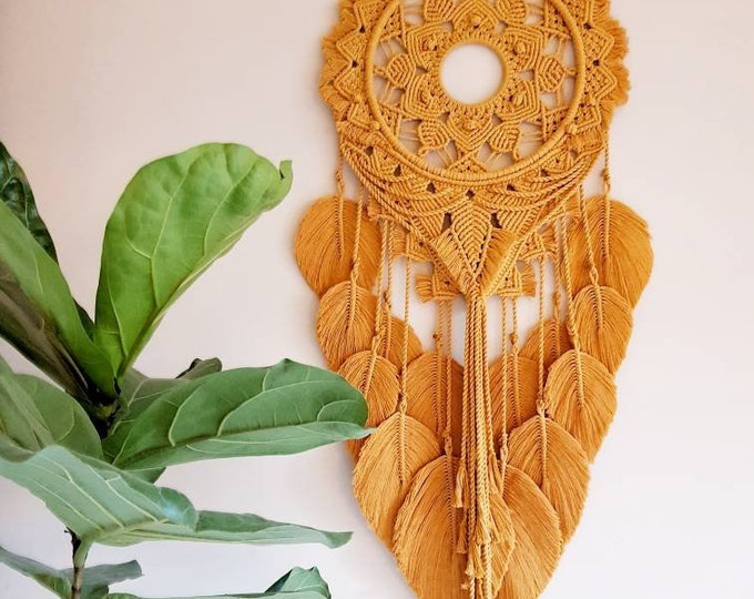 Ginger - large macrame wallhanging / mandala / vegan dreamcatcher made from organic + recycled materials in the color of your choosing