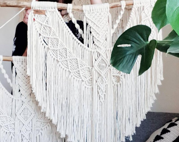 Ellie - large macrame wallhanging / tapestry made from all natural materials in natural tones on driftwood with raw crystal