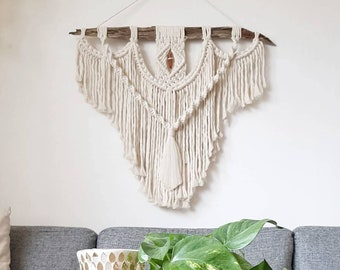 Ida - large macrame wallhanging / tapestry made from organic + recycled materials in the color of your choosing