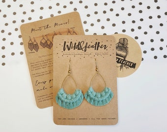 Wild And Feather macrame earrings: Drops mini - sea turquoise