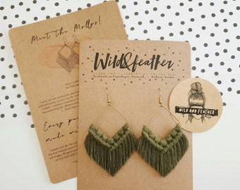 Wild And Feather macrame earrings: Molly - olive green