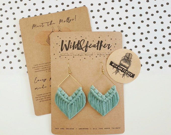 Wild And Feather macrame earrings: Molly - sea turquoise