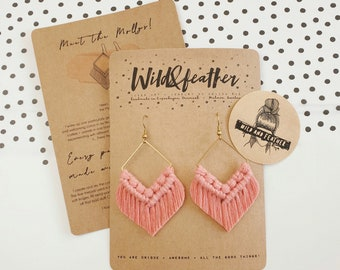 Wild And Feather macrame earrings: Molly - dusty raspberry