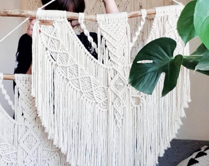 Ellie - large macramé wall hanging / macramé tapestry made from all natural materials in natural tones on driftwood with raw crystal