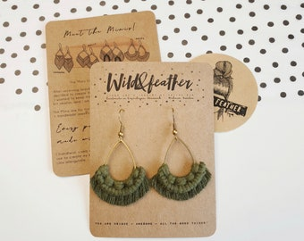 Wild And Feather macrame earrings: Drops mini - olive green