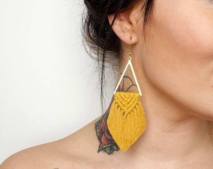 Wild And Feather macrame earrings: Sahara - mustard