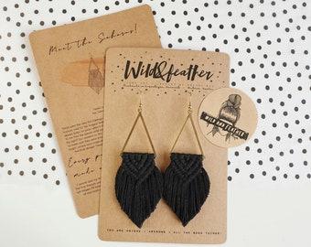 Wild And Feather macrame earrings: Sahara - black