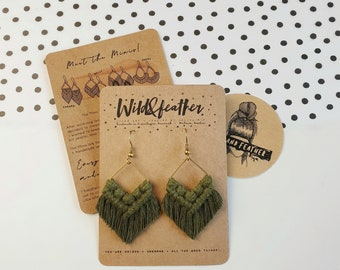 Wild And Feather macrame earrings: Molly mini - olive green