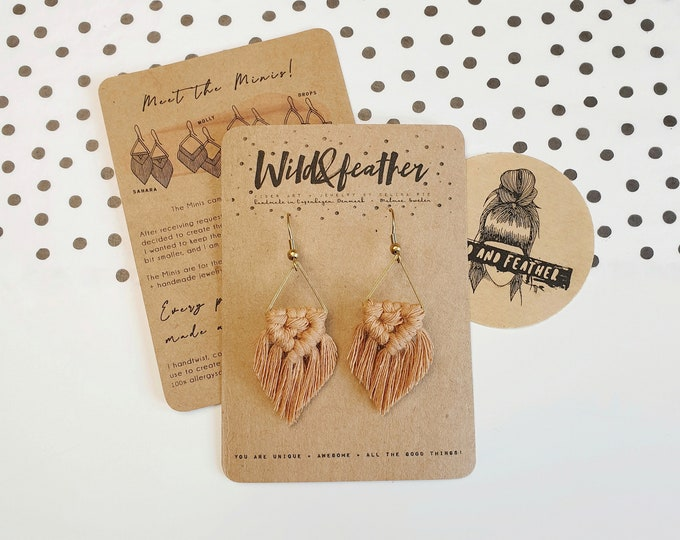 Wild And Feather macrame earrings: Sahara mini - caramel