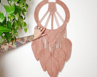 Rosa - large macrame dreamcatcher / wallhanging made from all organic and recycled materials in a lovely dusty rose color