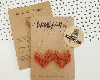 Wild And Feather macrame earrings: Molly - rust red