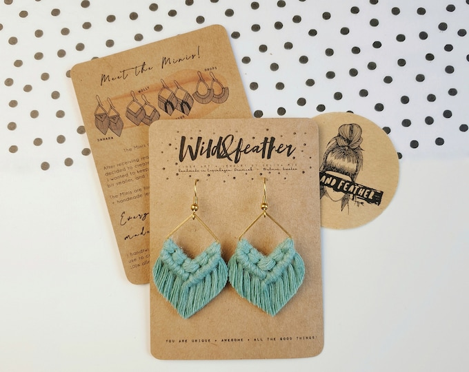 Wild And Feather macrame earrings: Molly mini - sea turquoise