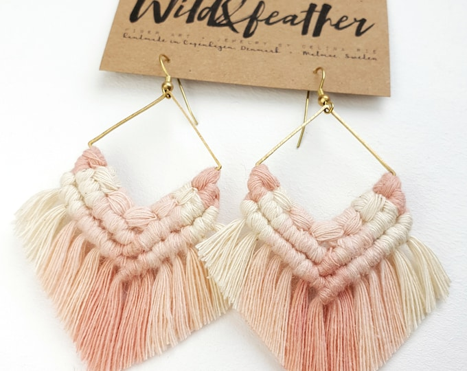 Wild And Feather macrame earrings: One of a kind - strawberry milkshake