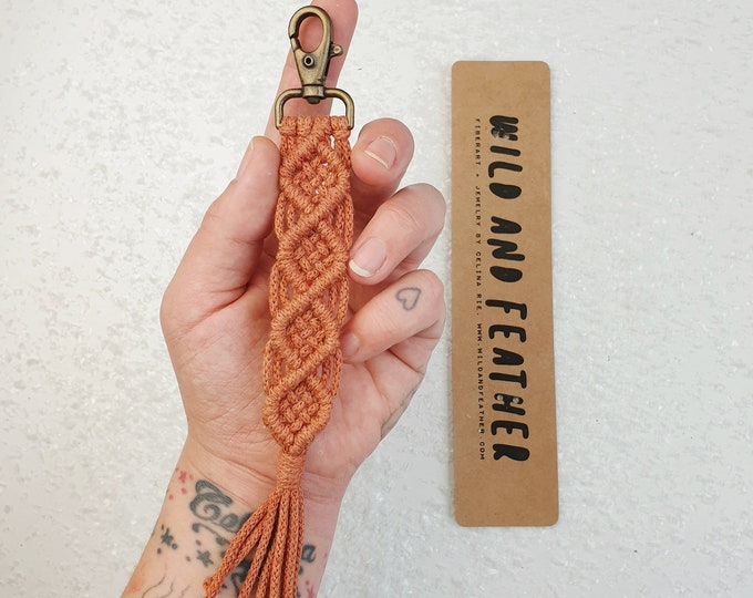 Wild And Feather macrame keychain / bag tassel - terracotta