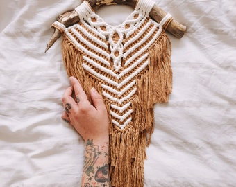 Spirit - medium macrame wallhanging / tapestry made from all natural materials in natural and camel tones on driftwood