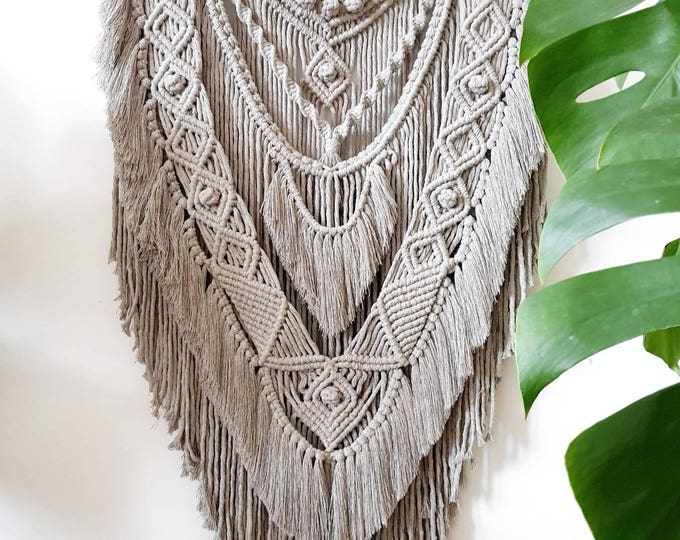 Warrior - large macrame wallhanging / tapestry made from all natural cotton in the color of your choosing