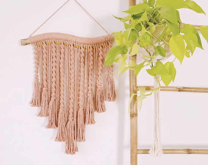 Lara - medium macrame wallhanging / tapestry made from blush colored cotton with tassels and woven + handspun rope details