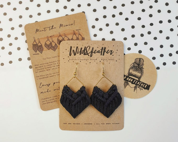 Wild And Feather macrame earrings: Molly mini - black