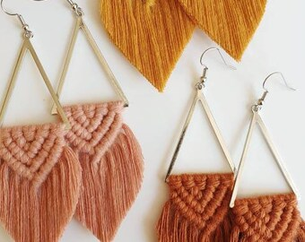 Wild And Feather macrame earrings: Sahara limited edition - silver
