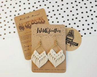 Wild And Feather macrame earrings: Molly mini - natural