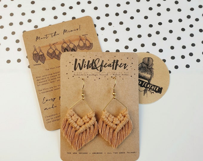 Wild And Feather macrame earrings: Molly mini - caramel