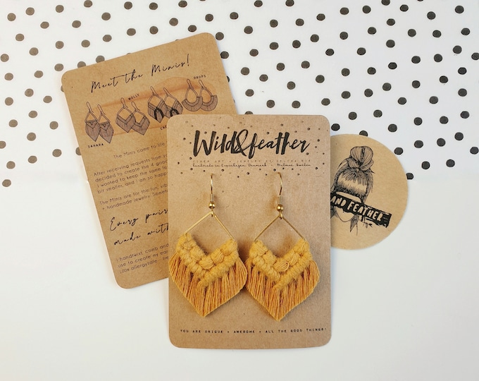 Wild And Feather macrame earrings: Molly mini - mustard