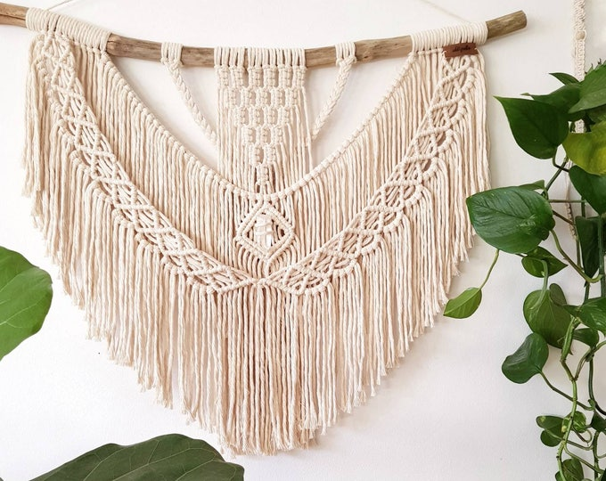 Nellie - large macramé wall hanging / macramé tapestry made from all natural materials in natural tones on driftwood with raw crystal