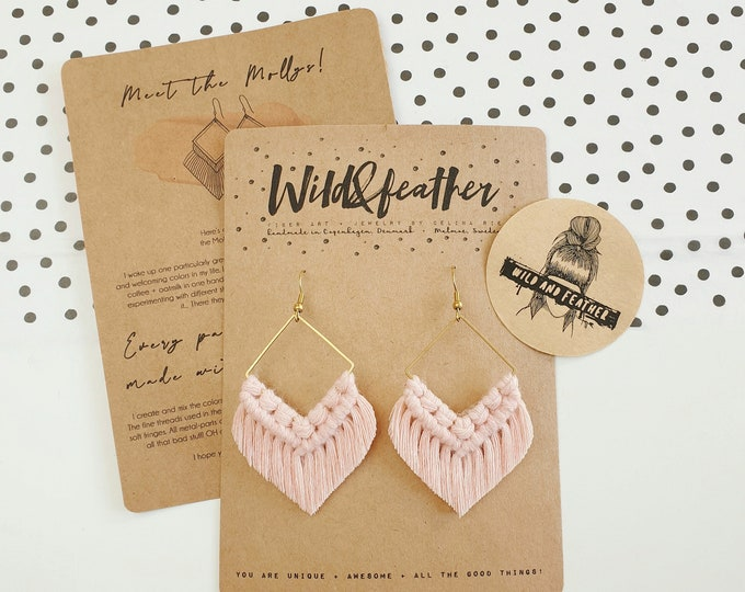 Wild And Feather macrame earrings: Molly - blush