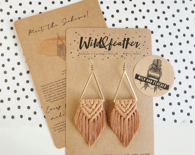 Wild And Feather macrame earrings: Sahara - caramel