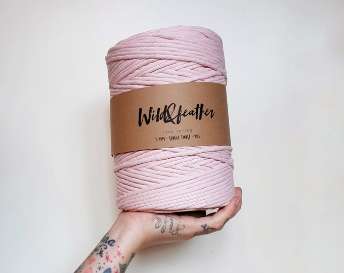 Cotton string 5mm single twist - Soft Pink 1kg