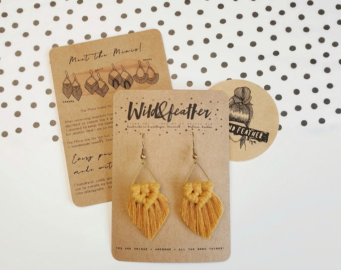 Wild And Feather macrame earrings: Sahara mini - olive green