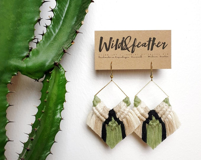 Wild And Feather macrame earrings: Cactus - olive