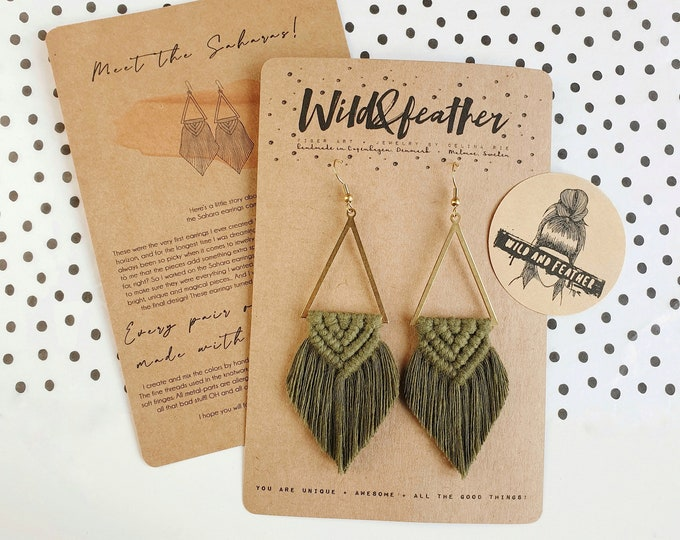 Wild And Feather macrame earrings: Sahara - olive green
