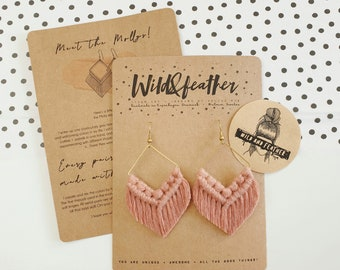 Wild And Feather macrame earrings: Molly - dusty rose