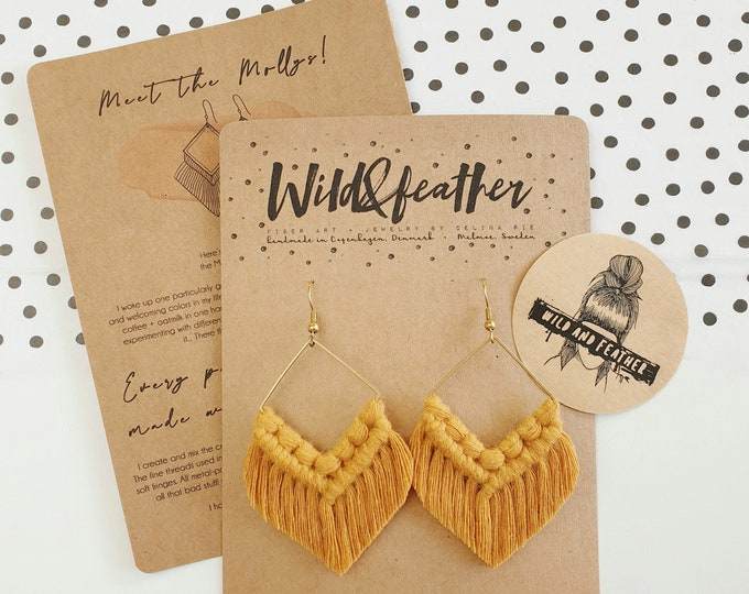Wild And Feather macrame earrings: Molly - mustard