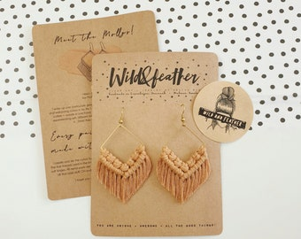 Wild And Feather macrame earrings: Molly - caramel