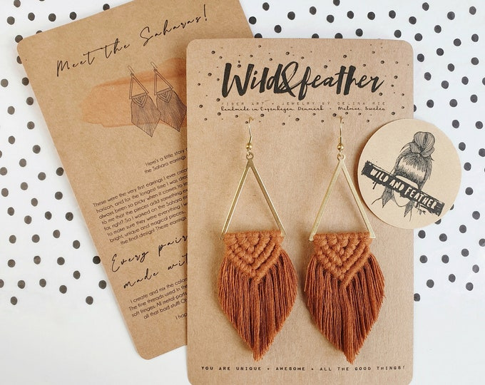 Wild And Feather macrame earrings: Sahara - terracotta