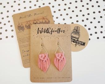 Wild And Feather macrame earrings: Sahara mini - dusty raspberry