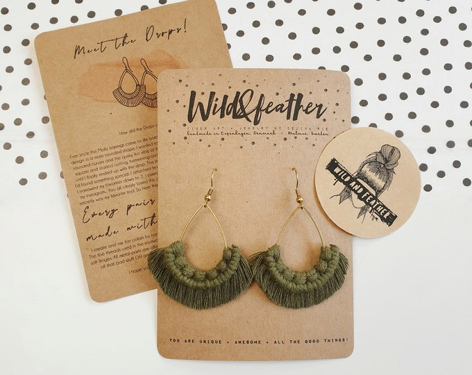 Wild And Feather macrame earrings: Drops - olive green
