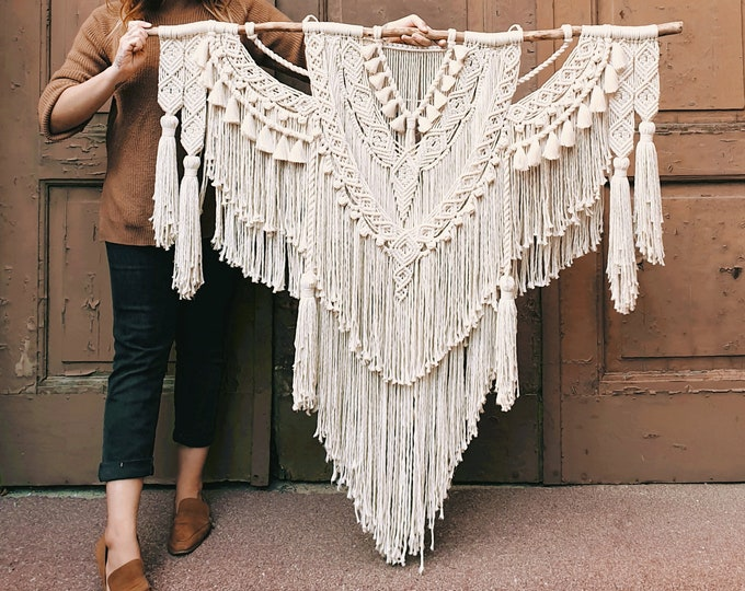 Iona - extra large macrame wallhanging / tapestry made from all natural colored cotton with tassels, fringes and handspun rope details