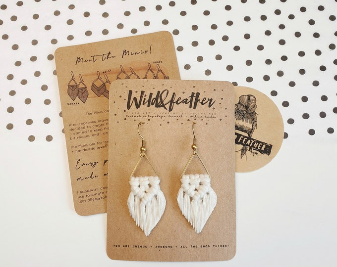 Wild And Feather macrame earrings: Sahara mini - snow white