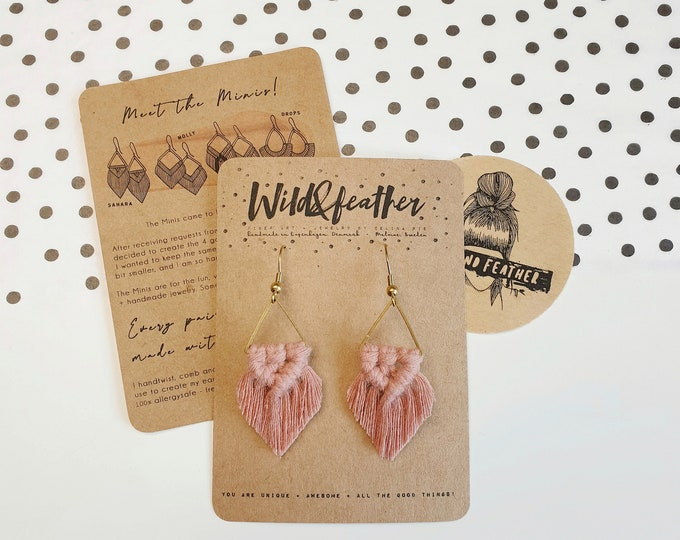 Wild And Feather macrame earrings: Sahara mini - dusty rose