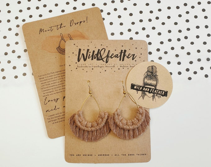 Wild And Feather macrame earrings: Drops - mocha