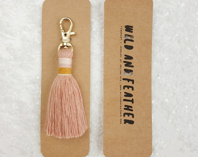 Wild And Feather macrame tassel keychain / bag tassel - blush, mustard, natural