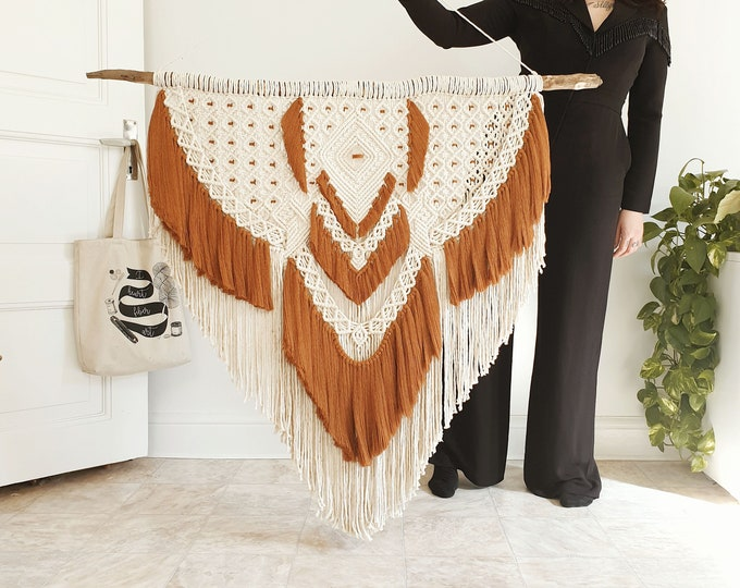 Hollie - extra large macrame wallhanging / tapestry made from all natural materials in natural and terra-terracotta tones on driftwood